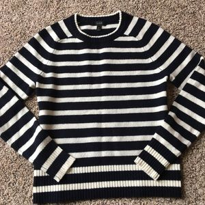 Nwot navy and white Jcrew wool sweater